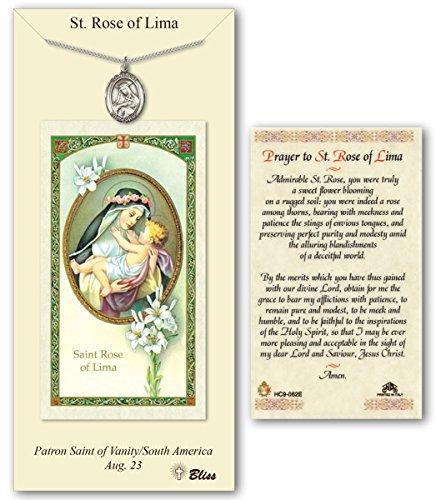 Pewter Saint Rose of Lima Medal with Laminated Holy Prayer (Pewter Rose)