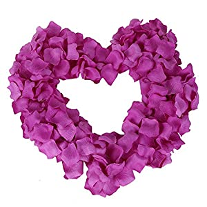 Colorfulife Simulation Rose Petals, 1200pcs Artificial Silk Rose Petal Flower Bridal for Wedding Party Valentine Supplies Room Decoration Centerpieces Confetti (5# Purple Red) 3