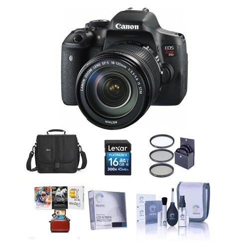 - Canon EOS Rebel T6i DSLR Camera EF-S 18-135mm f/3.5-5.6 IS STM Lens - Bundle Camera Case, 16GB Class 10 SDHC Card, 67mm Filter Kit, Cleaaning Kit, Mac Software Package