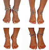 MarJunSep 4 Pairs Starfish Ankle Bracelet Barefoot Sandals Beach Vintage Boho Antique Beaded Anklets Foot Jewelry (A PACK)