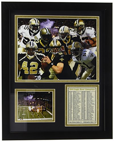 Legends Never Die New Orleans Saints 2009 Champions Framed Photo Collage, 11 by 14-Inch
