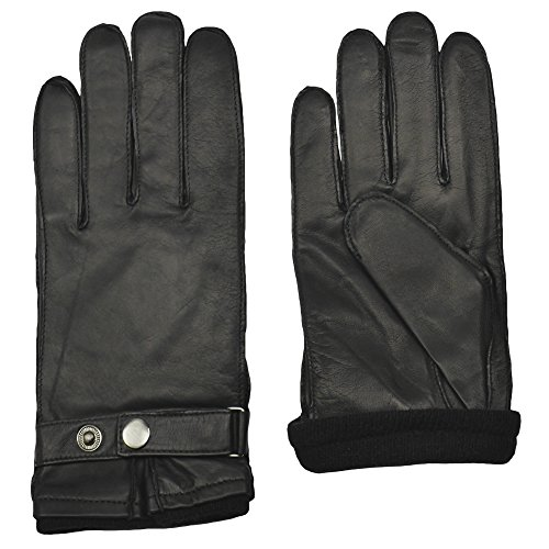 Men's BENTLEY Sheepskin Leather Driving Glove | Cashmere Lined by GRANDOE (Black, Medium)