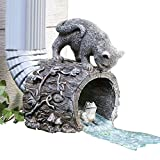 Collections Etc Curious Kitty Cat and Frog Gutter Downspout, Hand-painted, Hollow Tree Stump Design, Grey