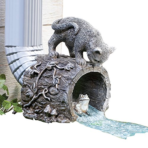 Collections Etc Curious Kitty Cat and Frog Gutter Downspout, Hand-painted, Hollow Tree Stump Design, Grey by Collections Etc