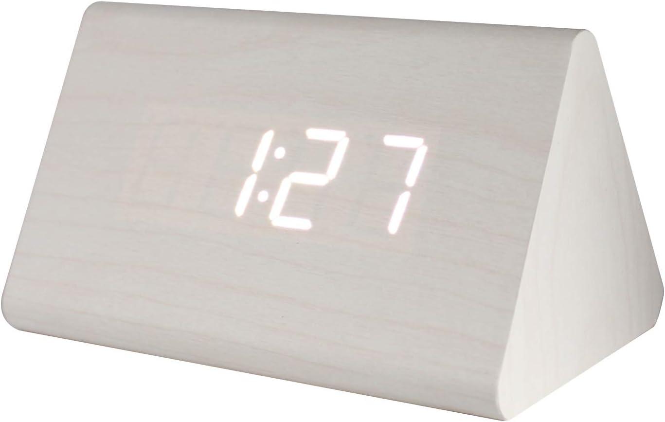 Delboz - Despertador digital de mesa, diseño de madera, reloj LED, visualización de tiempo, fecha, temperatura, control de voz, 3 alarmas, carga USB incluida