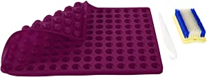 Non-Stick Silicone Baking Mats Sheet – 2 Cm Hemisphere Baking Mould for Biscuits/Chocolate/Dog Treats/Puppy Cookies with a Cake Stripping Knife & Scrubbing Brush (2CM,purple)