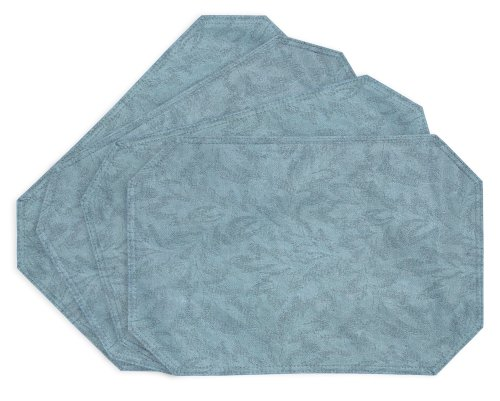 EVERYDAY LUXURIES Sonoma Damask Print Vinyl Placemats, Slate, Set of 4 [Kitchen]