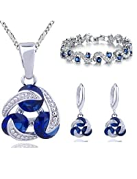 18 ct Gold Plated Blue Simulated Sapphire Zirconia Austrian Crystals Set Necklace Earrings Bracelet