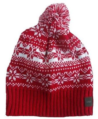 ac109a5bd8d STYLE MIXX Mens Ladies Fair Isle New York Bobble Beanie Hat Wooly Knitted Ski  Pom Pom Hat (RED FAIRISLE)  Amazon.co.uk  Clothing