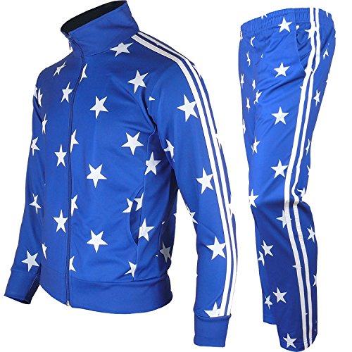 Us Warm Up Pant (myglory77mall Men's Running Jogging Track Suit Jacket and pants Warm Up Pants Gym Training Wear (M US(XL Asian Tag), Blue Star))