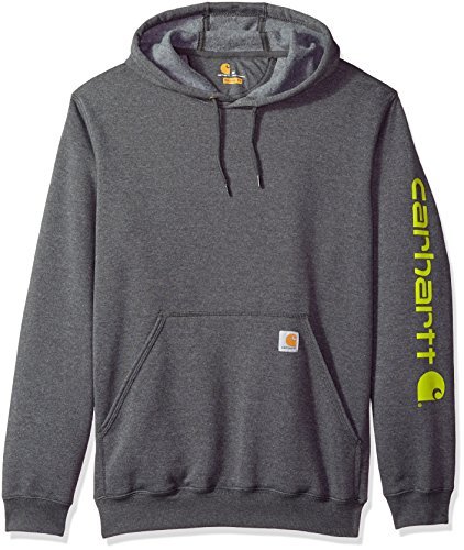 Carhartt Men's Big and Tall B&T Signature Sleeve Logo Midweight Hooded Sweatshirt K288, Carbon Heather, 3X-Large ()