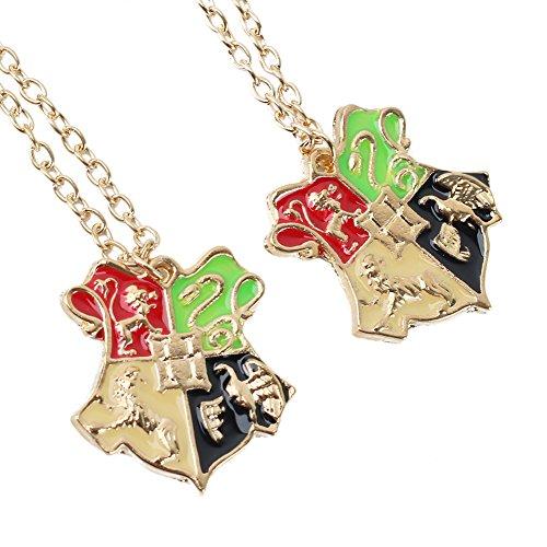Refaxi 2 Pcs Pendant Chain Necklace For Movie Harry Potter Hogwarts School Badge Crest Golden tone Men Women Girls Boys