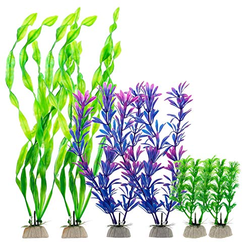 - Senzeal Artificial Aquatic Plants Simulated Water Grass Ornament Underwater Plastic Plants Fish Tank Aquarium Decorations 6PCS
