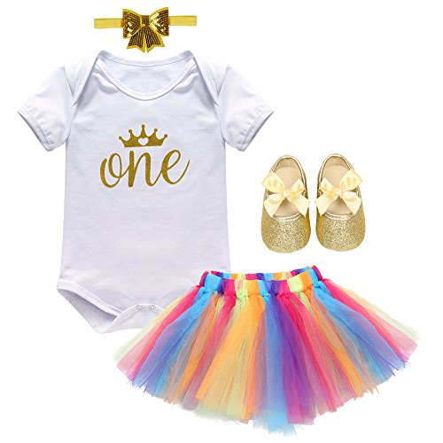Girl Newborn It's My 1st Birthday 4 pcs Outfits Romper+Skirt Headband Cake Smash Crown Princess Costume Shoes Clothing Set White 12-18 Months from IBTOM CASTLE