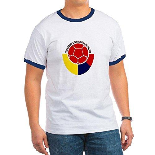 CafePress - Organic Cotton Colombian Soccer Tee T-Shirt - Ringer T-Shirt, 100% Cotton Ringed T-Shirt, Vintage Shirt Navy/White
