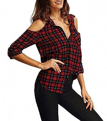 Women's Off Shoulder Flannel Plaid Shirt Long Sleeve Tartan Casual Blouse Top