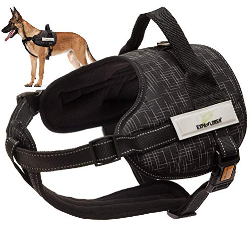EXPAWLORER Dog Harness Pet Harness Adjustable Outdoor 3M Reflective Oxford Material Vest for Dogs Easy Control Large