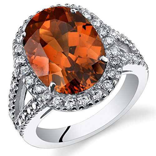 - 8.50 Carats Created Padparadscha Sapphire Engagement Ring Sterling Silver Size 9