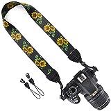 DSLR / SLR Camera Neck Shoulder Belt Strap - Wolven DSLR/SLR Camera Neck Shoulder Belt Strap for Nikon Canon Samsung Pentax Sony Olympus or Other Cameras - Black Flower