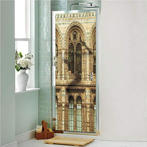 Urban 3D No Glue Static Decorative Privacy Window Films, Historical Architecture European City Building in London British Culture Art Photo Print,17.7