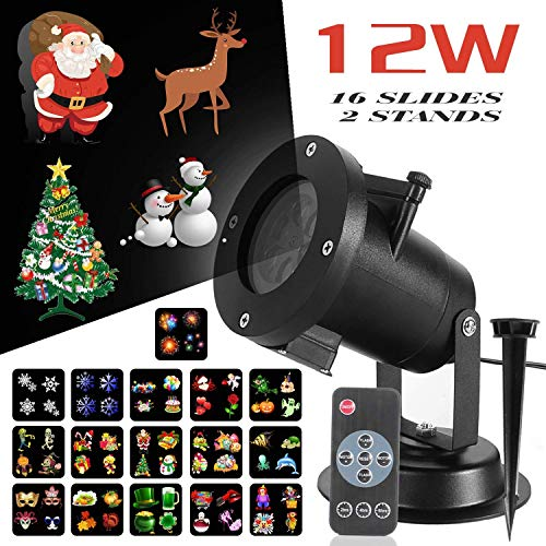 Christmas LED Projector Light, 16 Slides Show Projector with Remote Control Timer and Two Stands for Xmas, Party, Holiday -