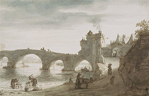 Oil Painting 'Doomer Lambert Harmensz_1640s (second Half)_Bridge Across The Loire At Amboise' 20 x 31 inch / 51 x 79 cm , on High Definition HD canvas prints, Dining Room, Living Room And Nurs decor (Barbara Jones Quilt Patterns compare prices)