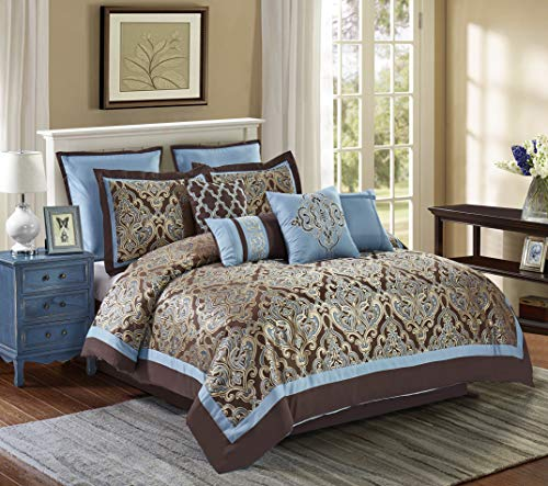 Wonder-Home 10-pc. Luxury Jacquard Comforter Set Oversized Queen, Damask Microfiber Bedding Set, Timeless Design, 92