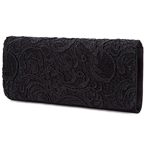 Kisschic Black Purse Party Women's Evening Lace Clutch Elegant Bridal Wedding Handbag Bags Floral 6Tr6x7q