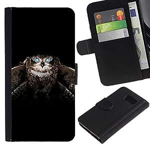 iKiki Tech / Cartera Funda Carcasa - Owl Wings Bird Flight Black Animal - Samsung Galaxy S6 SM-G920