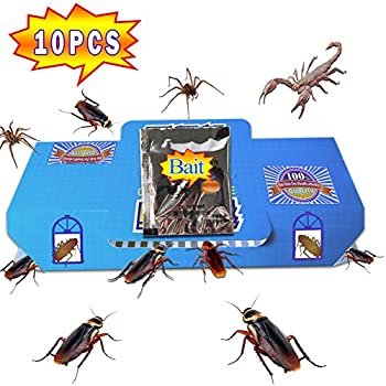 QUIET ( 10 Packs) Best Cockroach Trap Killer Safe And Effective Quickly Captured Roaches, Pest Control Traps Sticky Glue, With 10 packs Non-Toxic Bait