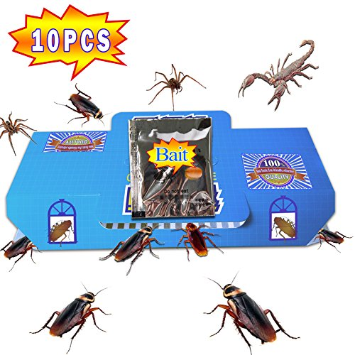 QUIET ( 10 Packs) Best Cockroach Trap Killer Safe And Effective Quickly Captured Roaches, Pest Control Traps Sticky Glue, With 10 packs Non-Toxic Bait (Resin Cricket)