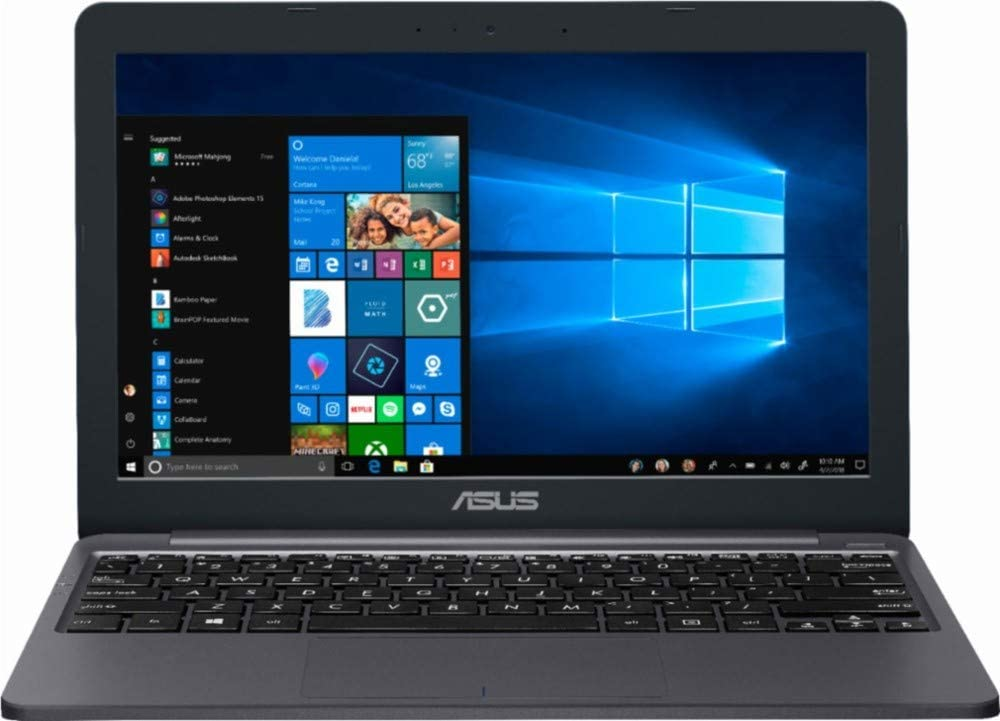 ASUS Thin and Lightweight 11.6 inch HD Premium Laptop with 32GB MicroSD Card | Intel Celeron Dual-core | 2GB Memory | 32GB EMMC Storage | USB-C | WiFi | GbE LAN | HDMI | Windows 10 | Star Gray