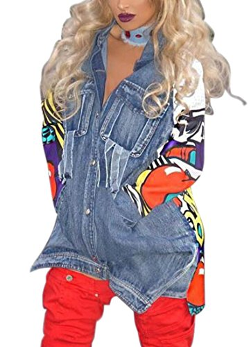 Frieed Women 3D Printed Slit Buttons Patchwork Long Jean Jackets Coat Outerwear Blue L ()