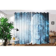 "vanfan 2 Panel Set Digital Printed Blackout Window Curtains for Bedroom Living Room Dining Room Kids Youth Room Window Drapes(W54""x L90"", Virtual reality projection Human a)"