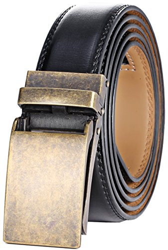 Marino Avenue Men's Genuine Leather Ratchet Dress Belt with Linxx Buckle - Gift Box (Gold Vintage Buckle W/Brown Leather, Adjustable from 28