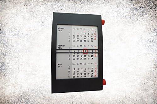 3-Monats-Kalender schwarz/rot 2 Jahre (2020/2021) Tischkalender mit Drehmechanik, Schreibtischkalender