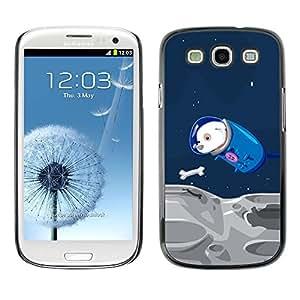 Caucho caso de Shell duro de la cubierta de accesorios de protección BY RAYDREAMMM - Samsung Galaxy S3 I9300 - Space Travel Parody Comic Laika Dog Cosmonaut