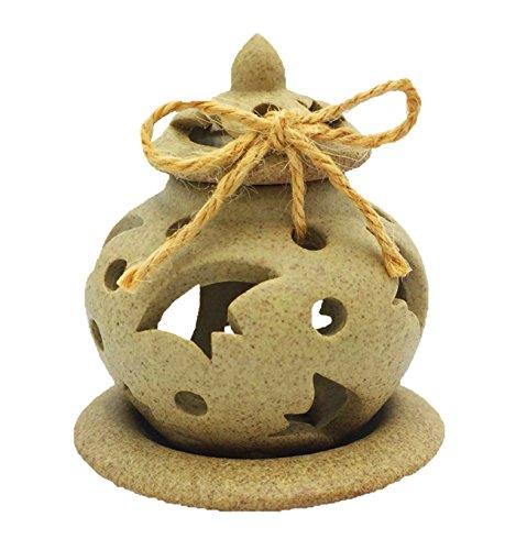 Pottery Decorative Bowl - Green Natural Incense Holder Burner Ceramic Handmade Style Pottery 2