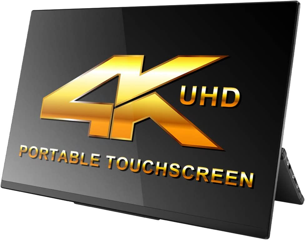 4K Portable Monitor Touchscreen,15.6 Inch UHD 3840x2160 Gravity Sensor Automatic Rotate Game Monitor IPS Eye Care Metal Frame Dual USB with HDMI Type C Speakers for Laptop PC PS4 Xbox Mac Phone