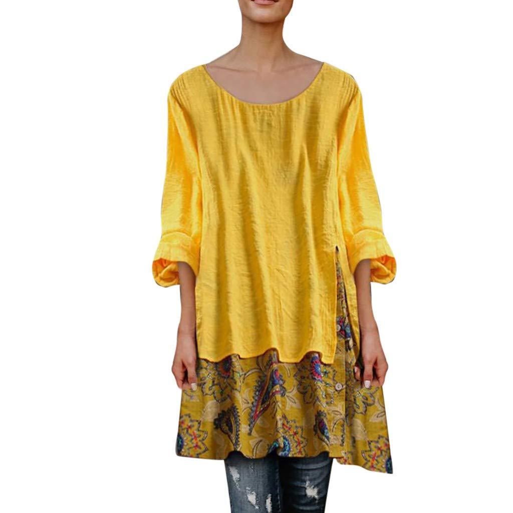 Pervobs Women Loose Swing Tunic Vintage Patchwork Long Sleeve O-Neck Irregular Hem Plus Size Top T-Shirt Blouse Blusa(US:20, Yellow)