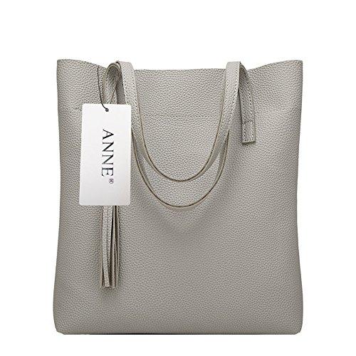 Anne Damen Handtasche, Taschen, legere Handtasche, großes Fassungsvermögen, Damen-Handtaschen B Grey