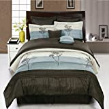 Luxury 8pc King size Portland Blue Comforter set By sheetsnthings