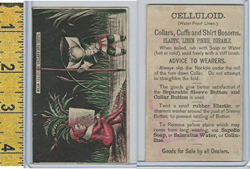 Victorian Celluloid - Victorian Card, 1890's, Celluloid Linen, Man Painting Frog