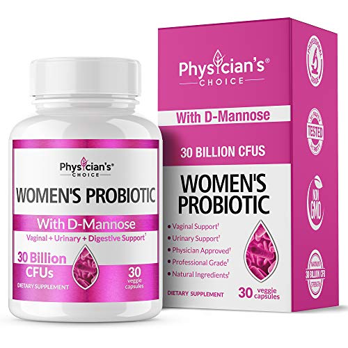 Probiotics for Women; [Clinically Proven Strains] with D-Mannose 50X Stronger Than Cranberry Pills for Digestive & Vaginal Health, UTI Relief, Vaginosis, Yeast Control, Immune Health, 30 Billion CFU
