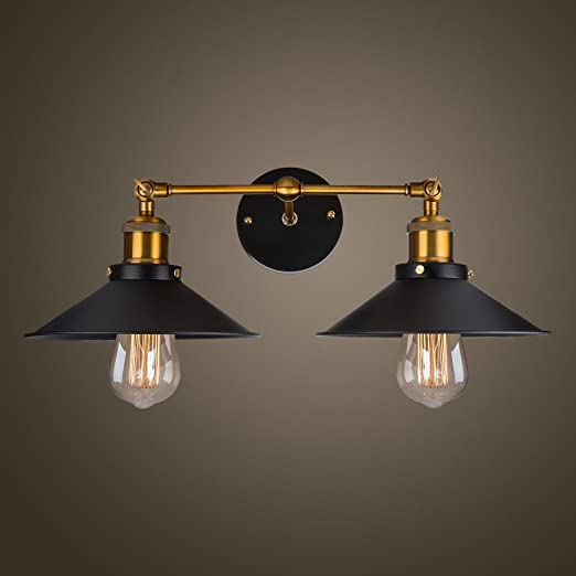 qian modern vintage loft metal double heads wall light retro brass