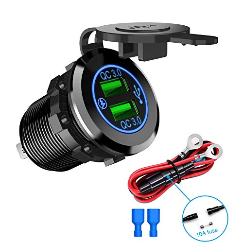 Nilight 90103A Dual Port QC 3.0 Fast Charging Hubs USB Charger Socket Power Outlet 2.1A x2 for Car Boat Marine RV Mobile with Wire Fuse DIY Kit with Lightly Blue LED