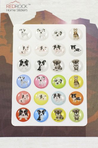 Colorful Dogs 24 Pieces Home Button Stickers for iPhone 5 4/4s 3GS 3G, iPad 2, iPad Mini, iPod Touch