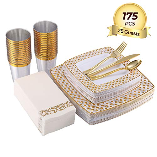 175 Piece Gold Dinnerware Set 25 Guest-50 Diamond Square Plastic Plates-25 Gold Plastic Silverware-25 Gold Plastic Cups…