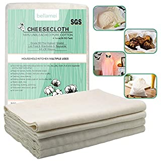 Bellamei Cheesecloth Reusable, Grade 90, 36 Sq Feet, 100% Unbleached Cotton Fabric Ultra Fine Cheeseclothes Nut Milk Bag for Cooking, Making Cheese, Straining, Basting
