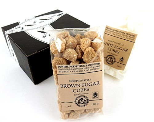 INDIA TREE Gourmet Sugar Cubes 2-Flavor Variety: One 12 oz Bag Each of White and Brown in a BlackTie Box (2 Items Total)